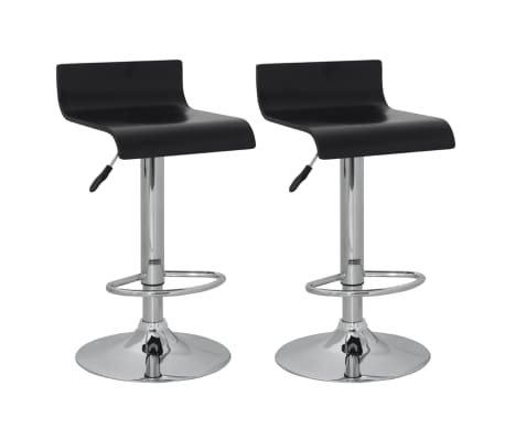 Set of 2 Black Bar Stool Wooden Seat with Low Backrest[1/4]