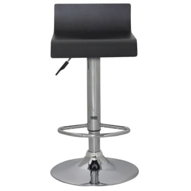 Set of 2 Black Bar Stool Wooden Seat with Low Backrest[2/4]