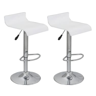 Set of 2 White Bar Stool Wooden Seat with Low Backrest[1/5]