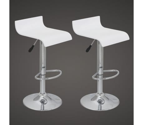 Set of 2 White Bar Stool Wooden Seat with Low Backrest[2/5]