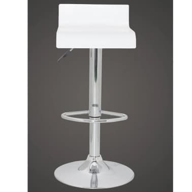 Set of 2 White Bar Stool Wooden Seat with Low Backrest[3/5]
