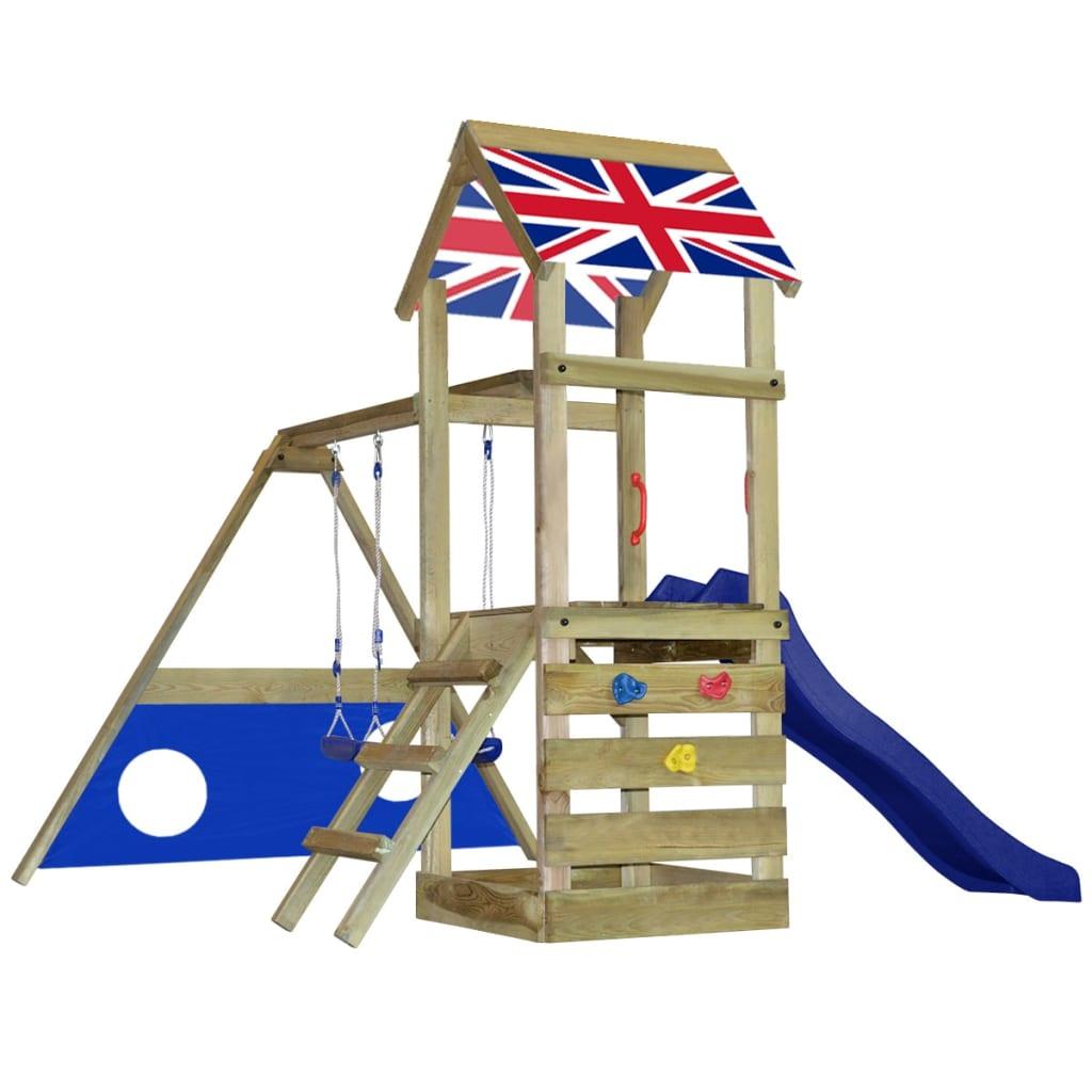 Dřevěná hrací věž Britská vlajka Skluzavka, žebřík, houpačky, branka S