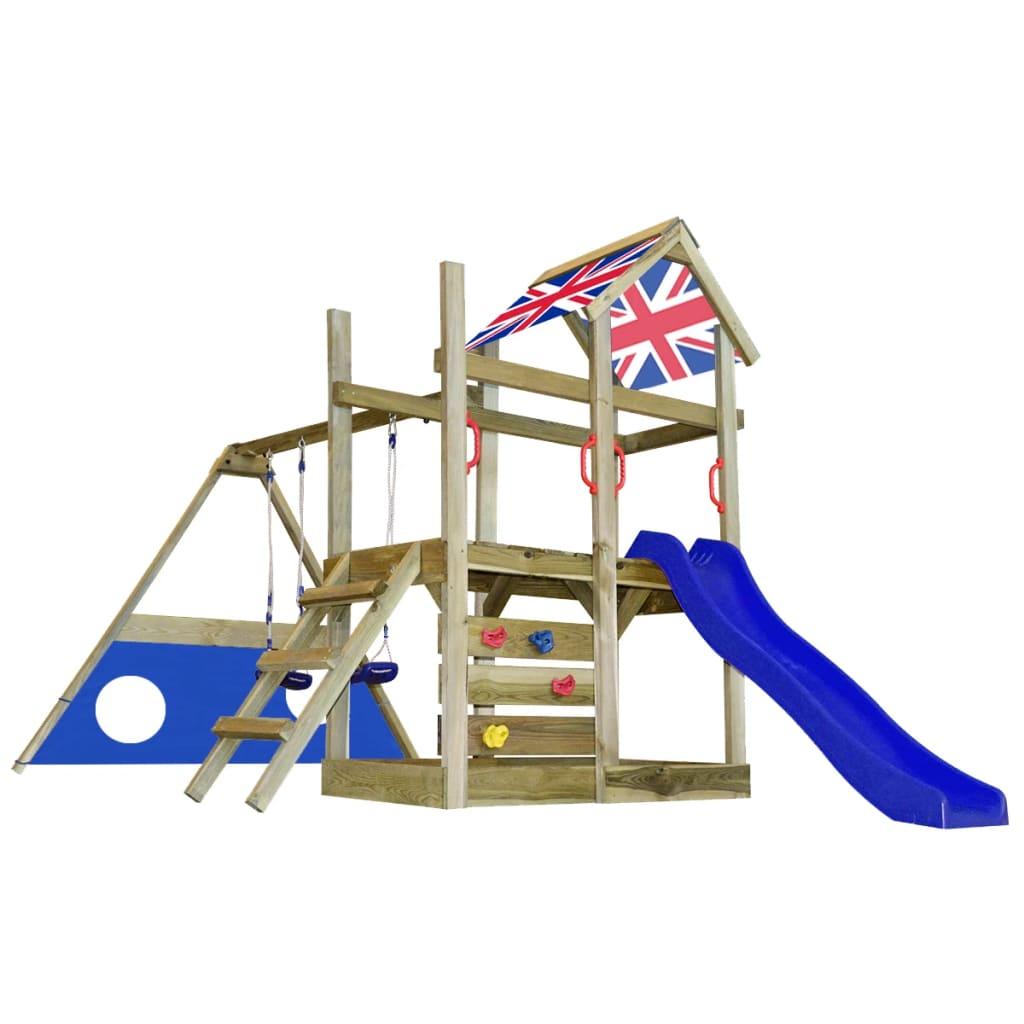 Dřevěná hrací věž Britská vlajka skluzavka, žebřík, branka, houpačky M