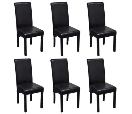 vidaXL Blagovaonske stolice od umjetne kože 6 kom crne