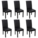 vidaXL Jedálenská stolička z umelej kože, 6 ks, čierna (241726 + 241727)