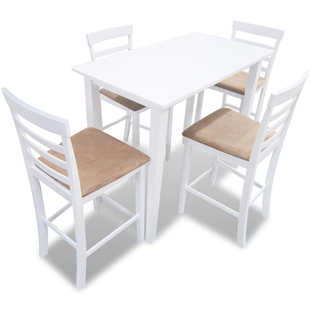 Bílý dřevěný barový stůl a 4 barové židle, set