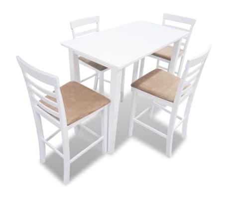 Bela visok lesen set barska miza in 4 barski stoli[1/9]