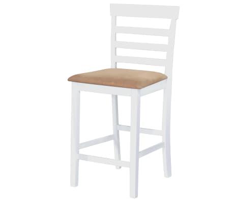 Bela visok lesen set barska miza in 4 barski stoli[3/9]