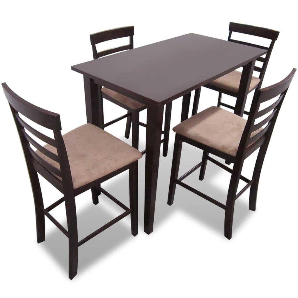 vidaXL Σετ Κονσόλα Τραπέζι και 4 Καρέκλες Μπαρ Καφέ Ξύλινο