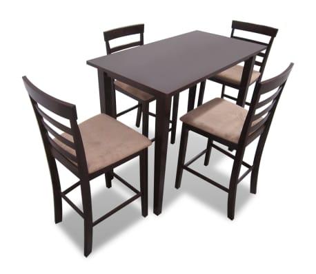 Smeđi drveni barski stol i 4 barske stolice