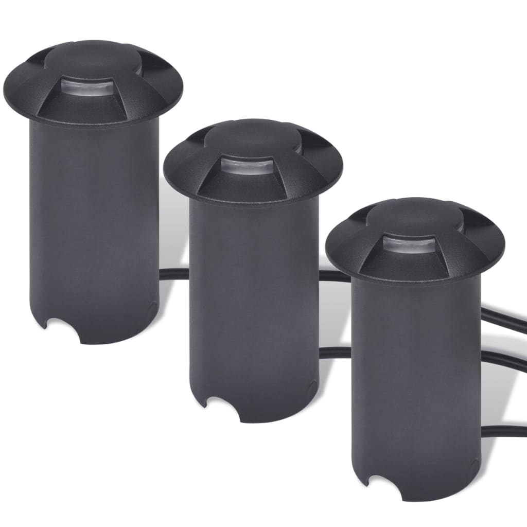 3 LED podlahové reflektory, černé
