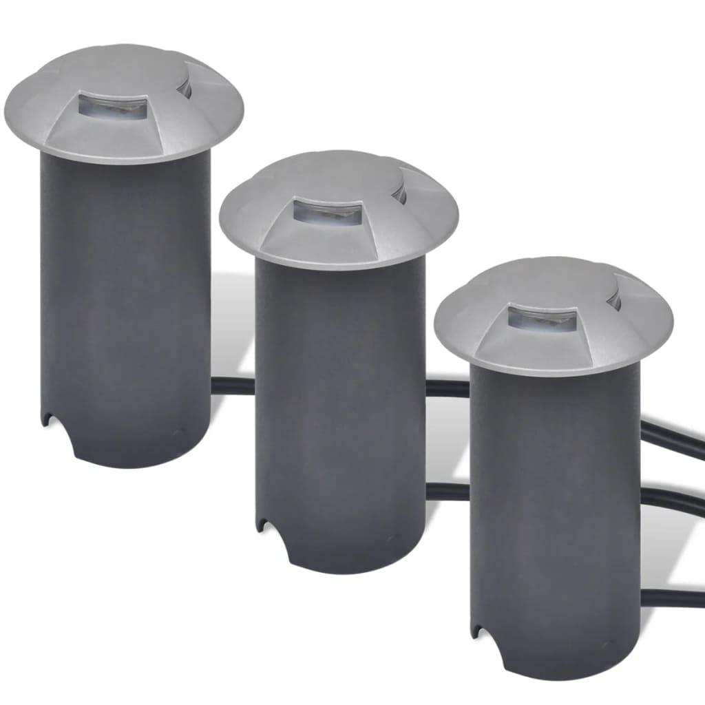 3 LED podlahové reflektory stříbrné