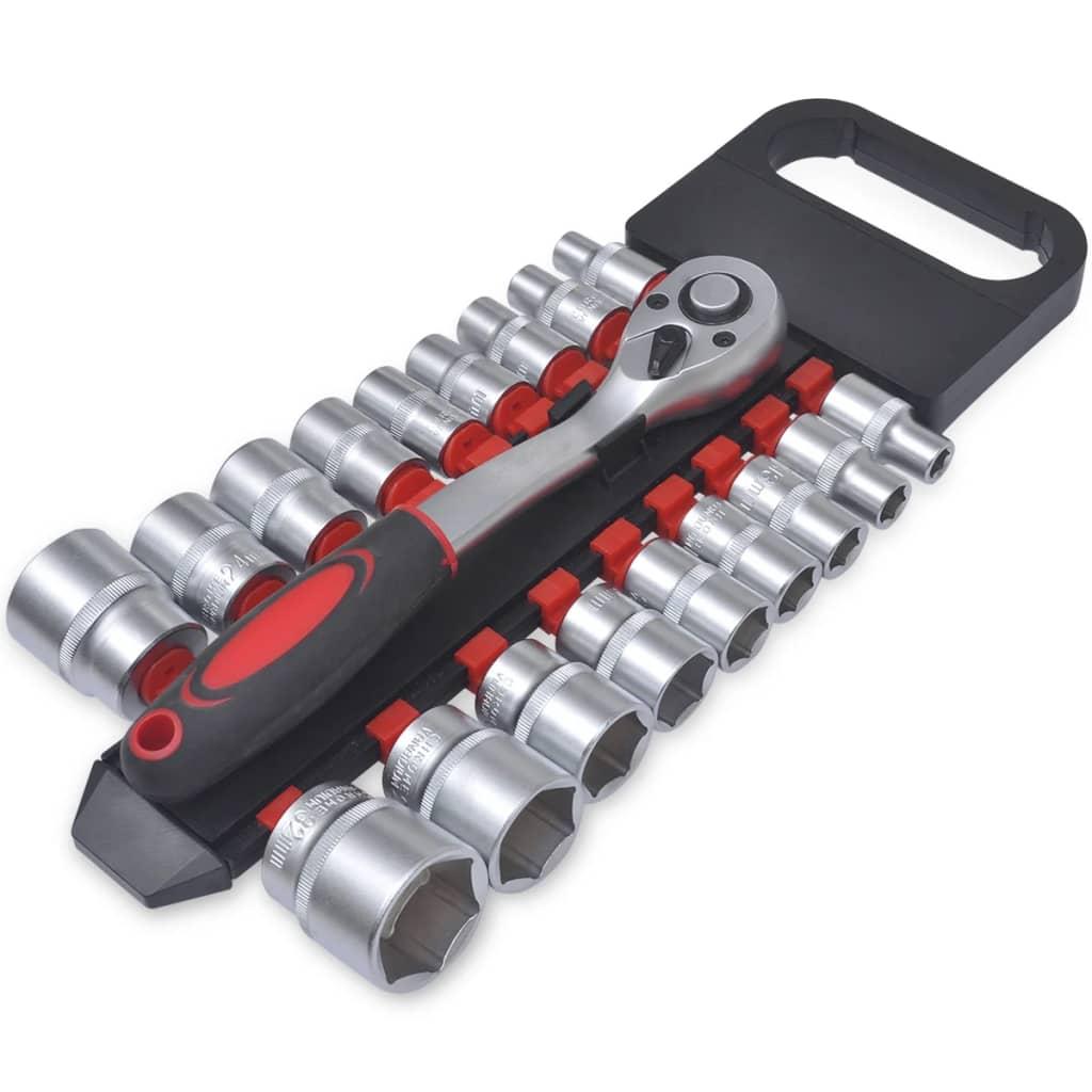 """Set scule set chei tubulare 1/2"""" cu clichet eliberare rapidă, 19 buc. imagine vidaxl.ro"""