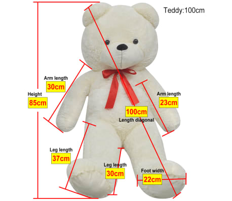 XXL Soft Plush Teddy Bear Toy White 100 cm[5/5]