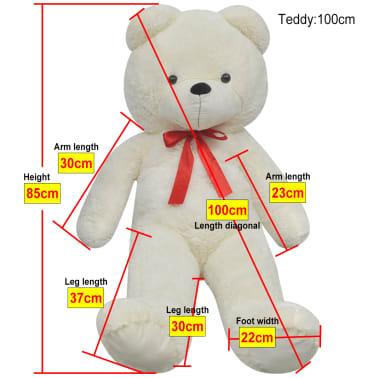 XXL Plišasta igrača medvedek bele barve 100 cm[5/5]