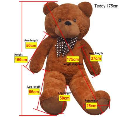 XXL Soft Plush Teddy Bear Toy Brown 175 cm[5/5]