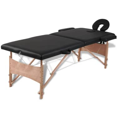 Black Foldable Massage Table 2 Zones with Wooden Frame[1/8]