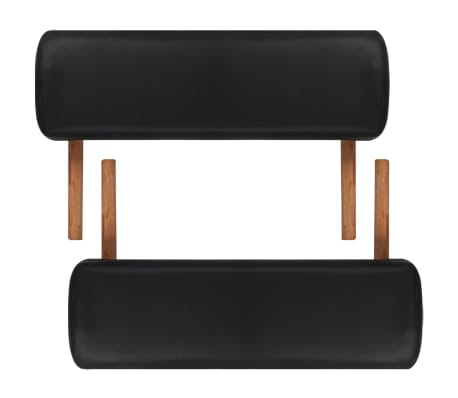 Black Foldable Massage Table 2 Zones with Wooden Frame[6/8]