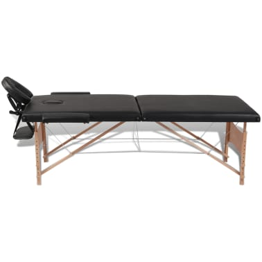 Black Foldable Massage Table 2 Zones with Wooden Frame[2/8]