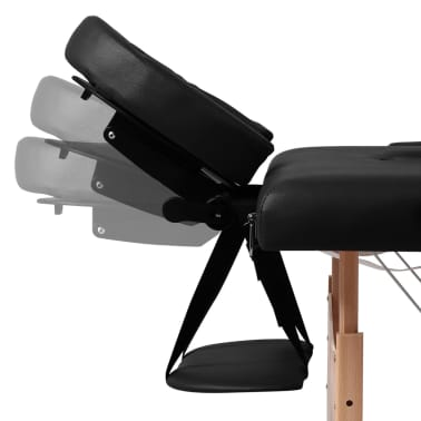 Black Foldable Massage Table 2 Zones with Wooden Frame[3/8]