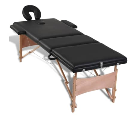 Black Foldable Massage Table 3 Zones with Wooden Frame[2/8]