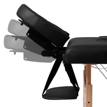 Black Foldable Massage Table 3 Zones with Wooden Frame[3/8]