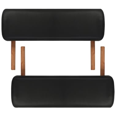 Black Foldable Massage Table 3 Zones with Wooden Frame[5/8]