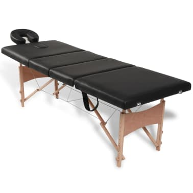 Black Foldable Massage Table 4 Zones with Wooden Frame[1/9]