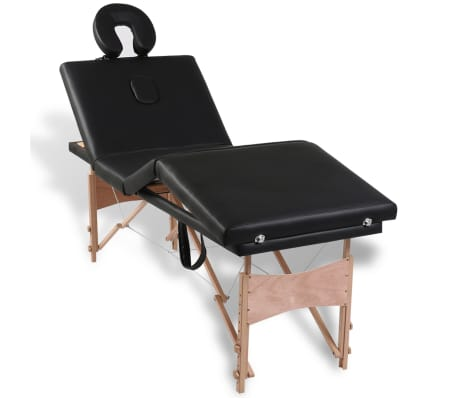 Black Foldable Massage Table 4 Zones with Wooden Frame[4/9]