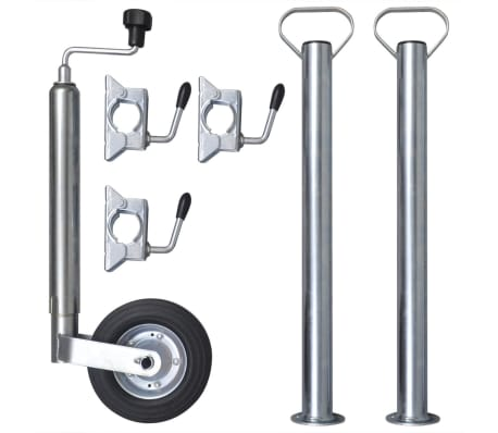 "vidaXL 1.9"" Jockey Wheel with 2 Support Tubes & 3 Split Clamps"