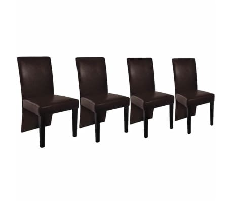 4 Artificial Leather Wooden Dining Chair Brown[2/4]