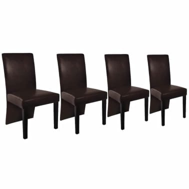 vidaXL Dining Chairs 4 pcs Brown Faux Leather[2/4]