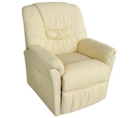 vidaXL Electric Massage Chair Cream Artificial Leather[2/6]