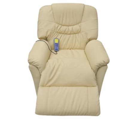 vidaXL Electric Massage Chair Cream Artificial Leather[3/6]
