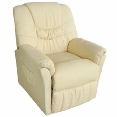 vidaXL Electric Massage Chair Cream Artificial Leather[2/6]