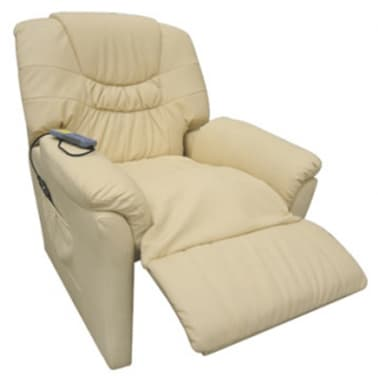 vidaXL Electric Massage Chair Cream Artificial Leather[4/6]