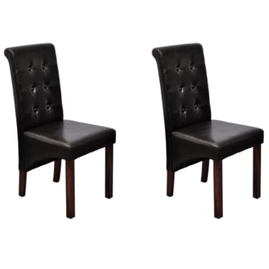 2 Scroll Back Artificial Leather Wooden Dining Chair Dark