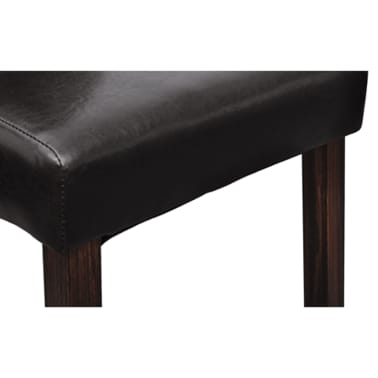 Stupendous 2 Scroll Back Artificial Leather Wooden Dining Chair Dark Pabps2019 Chair Design Images Pabps2019Com