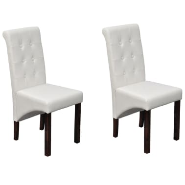 Admirable 2 Scroll Back Artificial Leather Wooden Dining Chair White Pabps2019 Chair Design Images Pabps2019Com