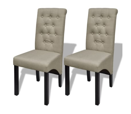 2 pcs Scroll Back Linen Coated Wood Dining Chair Beige[1/6]