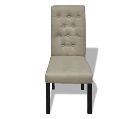 2 pcs Scroll Back Linen Coated Wood Dining Chair Beige[2/6]