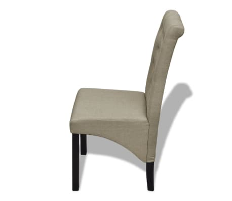 2 pcs Scroll Back Linen Coated Wood Dining Chair Beige[4/6]