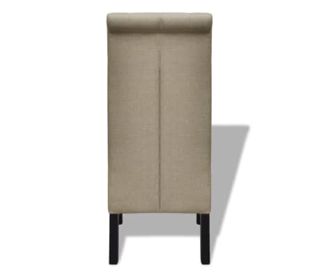 2 pcs Scroll Back Linen Coated Wood Dining Chair Beige[5/6]
