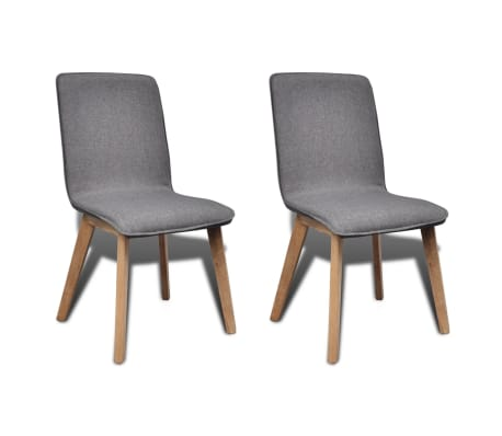 vidaXL Dining Chairs 2 pcs Dark Gray Fabric and Solid Oak Wood[1/6]