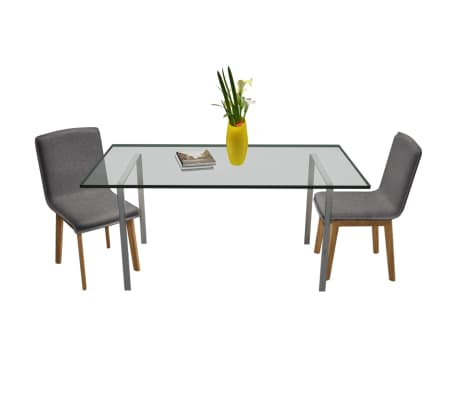 Set Of 2 Dark Gray Fabric Oak Dining Chair Indoor Vidaxl Com