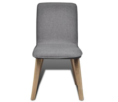 vidaXL Dining Chairs 2 pcs Dark Gray Fabric and Solid Oak Wood[3/6]