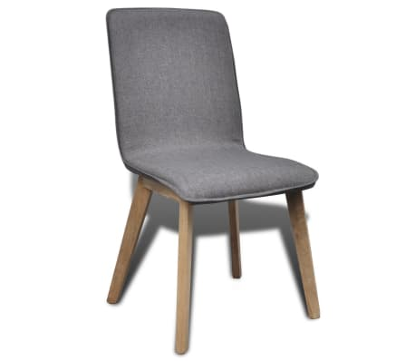 vidaXL Dining Chairs 2 pcs Dark Gray Fabric and Solid Oak Wood[4/6]
