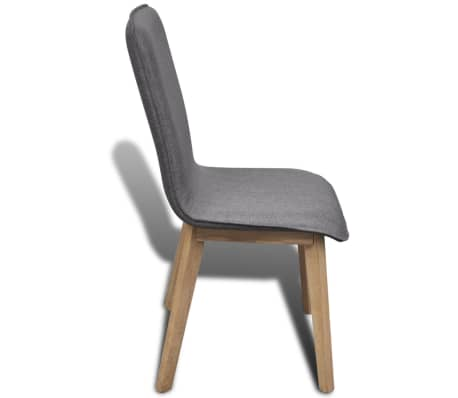 vidaXL Dining Chairs 2 pcs Dark Gray Fabric and Solid Oak Wood[5/6]
