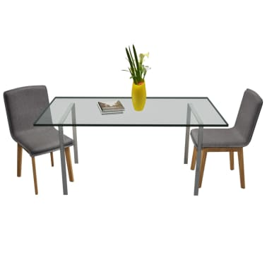 vidaXL Dining Chairs 2 pcs Dark Gray Fabric and Solid Oak Wood[2/6]