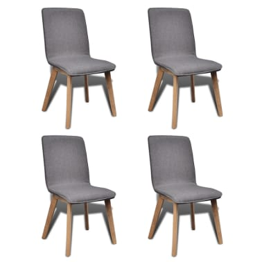 vidaXL Dining Chairs 4 pcs Dark Gray Fabric and Solid Oak Wood[1/6]